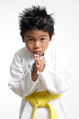 cute karate kid bowing