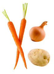 carrots, onion and potato
