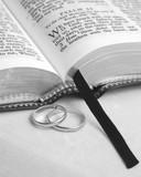 bible & wedding rings b&w poster