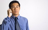 asian businessman with phone poster