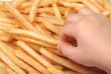 french fries and child hand poster