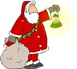 santa holding a bag of gifts and a lamp poster