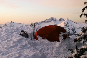 tent on mt. rainier at sunrise