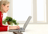 beautiful young woman paying bills online poster