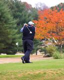 golfer & flying ball poster
