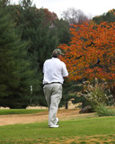golfer waiting on green poster