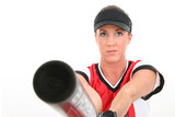 stock photography: female softball player poster