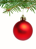 red ball hanging from christmas tree poster