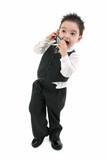 stock photography: excited toddler boy on cellphon poster