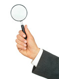 hand holding magnifying glass poster