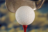 golf ball and club poster