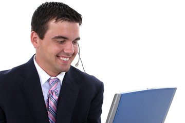 attractive male customer service representative