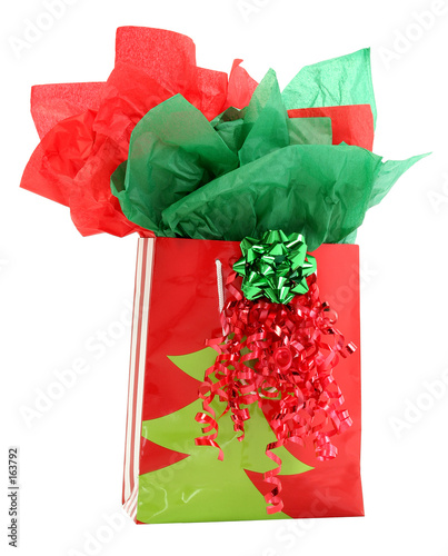 red and green gift holiday gift bag