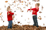 brother and sister throwing leaves poster