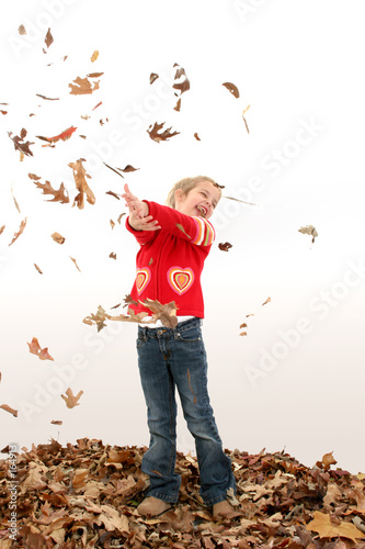 poster of adorable five year old in leaves