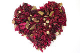 heart made of dried flowers poster