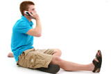 casual teen speaking on cellphone poster