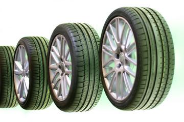 car tires in a row