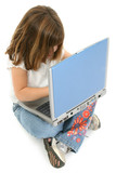 beautiful five year old girl with laptop poster