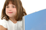 close up five year old girl with laptop poster