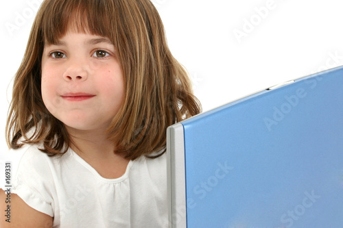 poster of close up five year old girl with laptop