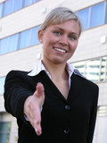 businesswoman ready to shake hands poster