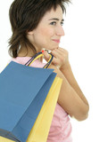 girl with shopping bag poster