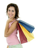 happy young woman with shopping bags poster