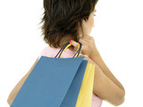 girl with shopping bags poster