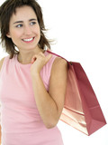 happy woman with shopping bag poster