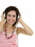 girl enjoying music poster