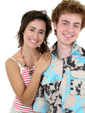 smiling young couple hugging poster