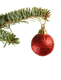 sparkling red ball christmas ornament poster