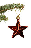 red star christmas ornament poster