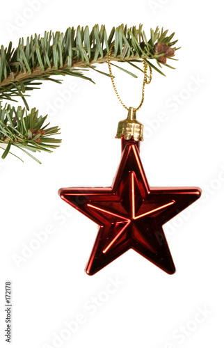 poster of red star christmas ornament
