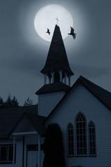 church over moon
