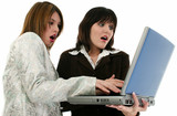two beauitiful young business women with laptop poster