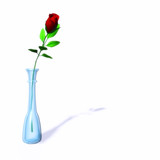 single red rose in a vase poster