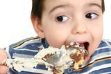 boy eating possum pie poster
