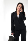 attractive business woman talking on cell phone poster