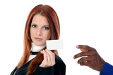stock photography:  businesswoman handing card ove poster