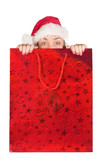 beautiful girl coming out of christmas bag poster