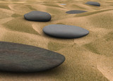 pebbles on sand - 3d render poster