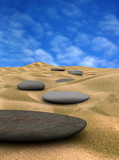 pebbles on sand 2  (3d render) poster