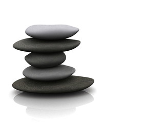 balancing pebbles over white