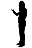 business woman presening silhouette poster