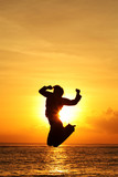 silhouette of woman jumping poster
