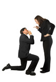 business begging man to a woman poster