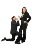 business begging man to woman poster