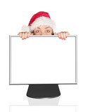 beautiful christmas woman peeping out of computer monitor poster